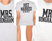 Mr and Mrs Shirt, Just Married Shirt, Wedding Clothing, Honeymoon Shirts, Wedding Announcement, Bride Shirt, Groom Shirt