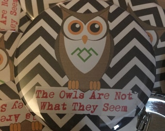 """The Owls Are Not What They Seem 2.25"""" pin"""