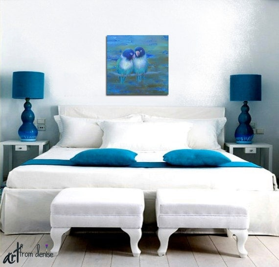 Navy And Teal Home Decor Abstract Lovebird Art Wall Blue Brown Bedroom Contemporary Bird Square Canvas Print