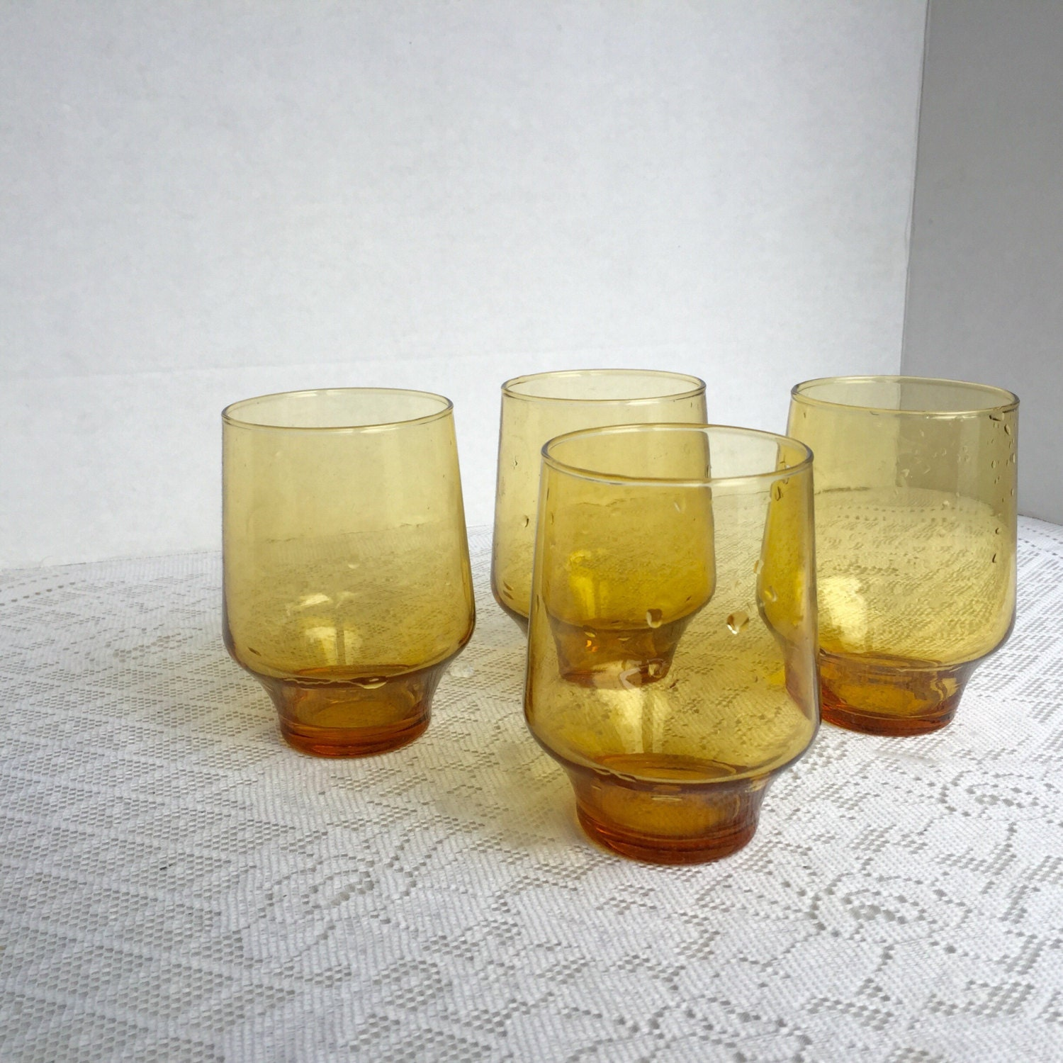 Vintage Amber Juice Glasses Yellow Glass Tumblers Kitchen