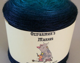 Silky Merino Lace - Gradient teal to navy blue merino and silk laceweight yarn.  Ocean