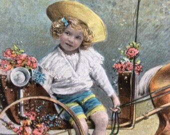 Vintage Postcard 1909 Girl With Horse and Carriage