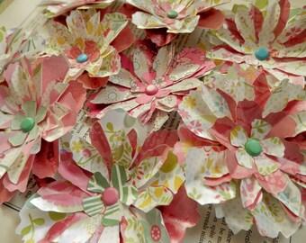 """PAPER FLOWERS set/6 """"Flower Garden"""" Pinks Yellow Green Aqua Blue"""