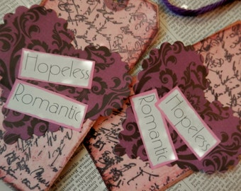 4 LARGE TAGS - Collage and Ink - Hopeless Romantic Pink Mauve Purple Lavender Black