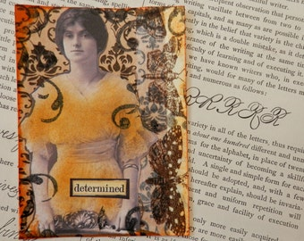 SALE ACEO ATC  One-of-a-kind Collage and Ink Determined