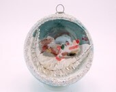 Vintage Mercury Glass Santa in Sleigh Diorama Christmas Holiday Ornament Blue 1950s Christmas Decoration Japan