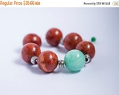 SALE Large bold stone bracelet, huge 20mm round coral and soft mint green jade, adjustable extender chain, beautiful pastel colored large st