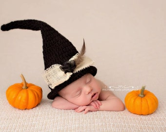 Baby Witch Hat Crochet  baby boy baby girl photography prop Halloween costume outfit