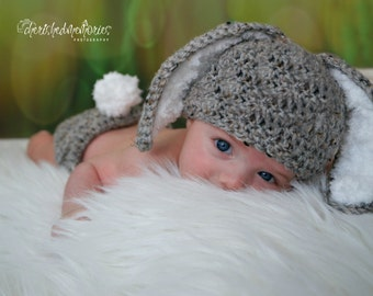 Crochet Baby Hat Easter grey baby Bunny Rabbit Ears  Photo Prop Diaper Cover Gray floppy ear bunny outfit