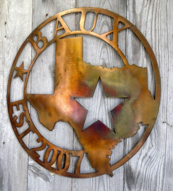 Custom Personalized Steel Texas State Address Plaque House Sign Marker Metal Welcome or Establish Date