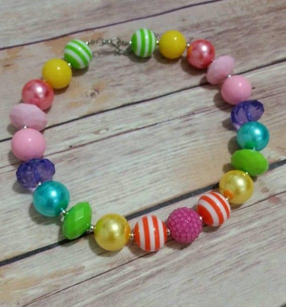 Girls Rainbow Necklace 1st Birthday By SunshineChloeCrafts