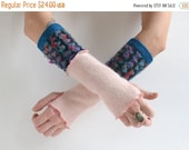 SUMMER SALE Upcycled Recycled Arm Warmers - Cashmere Arm Warmers - Fingerless Long Gloves
