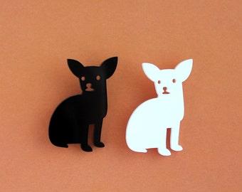 Chihuahua designer brooch - laser cut acrylic - black or white - pet pin