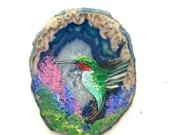 Hand Painted Brazilian Agate Magnet Hummingbird