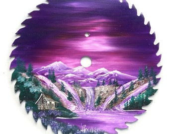 Hand Painted Saw Blade Mountain Water Falls Lavender Winter Log Cabin