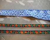 Trims, Two, Vintage, Folk, Blue and White, Orange, Red, Floral, Supply, Woodland