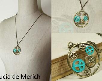 Hippie Peace Sign Necklace - Patina Verdigri- vintage hippie - coupon code