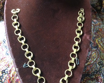Vintage Brass Chain Necklace / Circle Chain Link Brass Choker Necklace / 1940's Brass Necklace