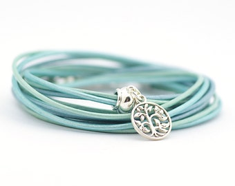 Tree of life Charm Yoga Bracelet, Mint Blue Metallic Leather Wrap Bracelet, Hippie Jewelry, Minimalist Jewelry, gift for her, boho chic,