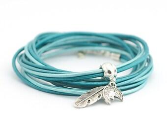 Teal Turquoise Sky Blue Wrap Bracelet, Ice Blue Hippie Bracelet, Gypsy Bohemian Jewelry, Modern Minimalist Jewelry, christmas gift boho chic