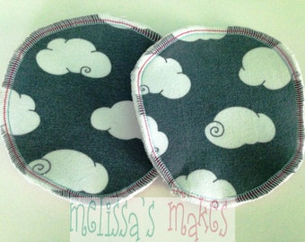 Slate Clouds cloth nursing pads, boob pads, breast pads, washable, reusable, breastfeeding pads, crunchy, cloth nursing pads, clouds