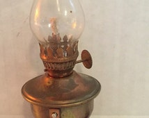 Tiny Vintage Brass Hurricane Oil Lamp Desk Wall 3 1/2""