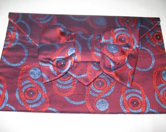 Handmade 100% silk envelope clutch in burgundy, red and blue