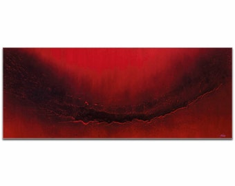 Mendo Vasilevski 'Red Splash' - Firebrick, Red, & Black Elegant Painting, Modern Abstract Art, Contemporary Urban Decor