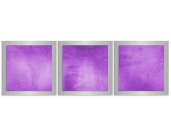 Orchid Artwork (Pantone Color of the Year) Modern Metal Wall Art 'Violet Essence' 38x12 in - Orchid Accent - Contemporary Décor - Purple Art
