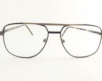 Mens Aviator Eyeglasses, Black and Gold Metal Eyeglasses, Vintage Square Glasses, New Old Stock