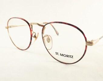 Round Tortoise Shell Eyeglasses in Gold Metal Frames, Vintage Womens Eyewear, New Old Stock