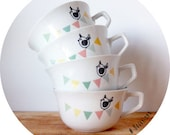 set of 4 bird bunting cups