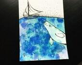 Original ACEO - Beluga Whale