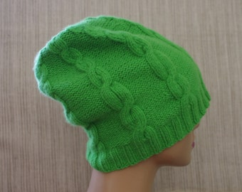 Pure Italian 8 Ply Cashmere Cable Hand Knit Spring Green Beanie Hat