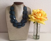 Ocean Blue with Gold Crystals Statement Necklace