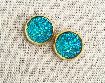 Druzy Studs in Sparkling Turquoise