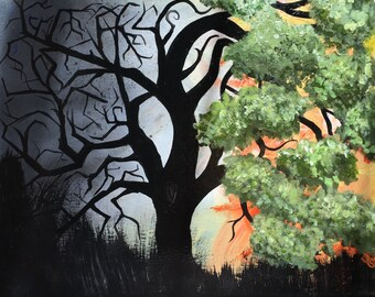 Original Handmade Art- Abstract Painting about Mental Illness/Addiction Recovery and Awareness; Acrylic on Canvas; Abstract Trees