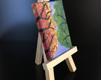 """Original Handmade Vertical Art- Mini Canvas Painting with Small Easel of the Fall/Changing Seasons with Metallic Blue Background 2x3"""""""