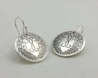 Sterling Silver Etched Japanese Kamon Wisteria Kamon Earrings
