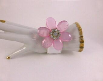 Vintage Pink Lucite Flower Bracelet