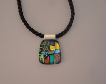Fused Dichroic Glass Multi-Colored Pendant - BHS03621