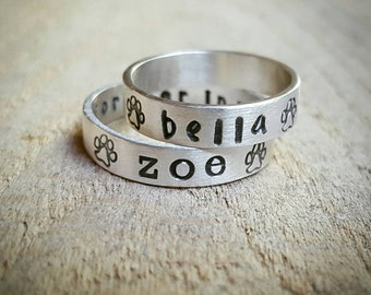 Personalized Dog Name Ring in Sterling Silver with Paw Prints, paw print ring, Pet Memorial ring, Loss of Pet
