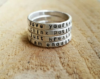 Personalized Hammered Quote Ring in Sterling Silver, Custom Stacking Ring, Inspirational Quote Ring, Ring with quote