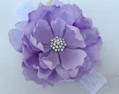 Big purple flower headband,Girl headband,Flower girl headband,Elastic lace headband