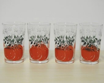 4 Tomato Juice Glasses ~ Vintage Red & Green Tomato Vine, Small 4oz Beverage Glassware Tumblers Swanky Swigs Mid Century Retro Kitchen