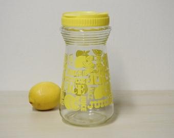 Yellow Juice Carafe - Retro Lemon Juice Glass Decanter Pitcher, Lemonaide Vintage 1970s / Mid Century Retro Kitchen