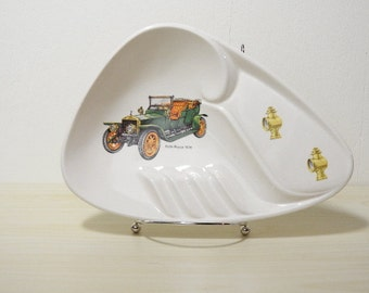 Classic Ashtray Rolls Royce - Vintage 1950-60s, White Ceramic, Green Car, Auto, Buggy, Victorian / Retro Kitsch Decor