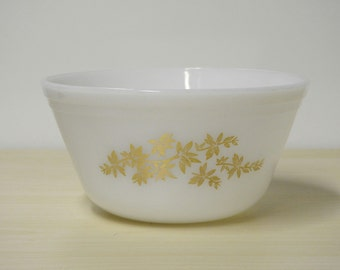 "Golden Glory Bowl - Vintage Federal Glass White Mixing Serving Bowl Floral Pattern 7"" Vintage 1950-60s / Mid Century Modern Retro Kitchen"