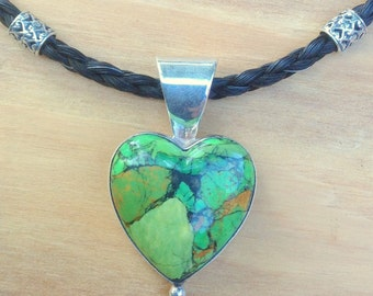 Vintage Sterling Silver Mojave Green Turquoise Heart Pendant, Horsehair Necklace, Western, Equestrian, Gift for Her