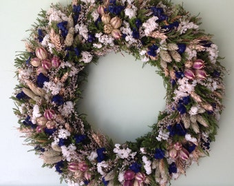 Blue and White Dried Flower Wreath
